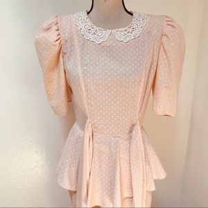 Vintage 1980s Peach Dot Puff Sleeve Dress